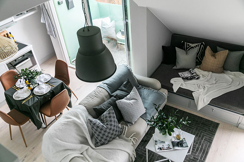amenajare garsoniera 32 mp living si sufragerie