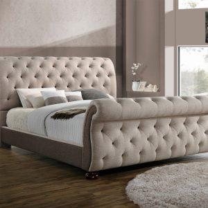 pat tapitat bej modern pat premium pentru dormitor