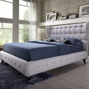 pat tapitat dormitor gri modern paturi ieftine