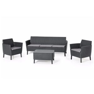 Set mobilier de gradina gri 1 canapea 2 fotolii 1 masa Design Modern