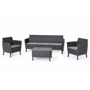 Set mobilier gradina 2 scaune 1 Banca cu 3 locuri 1 masuta Rattan Gri