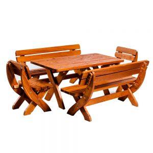 Set mobilier gradina, 2 scaune, 2 bancute, 1 Masa mare, Lemn natural, Maro