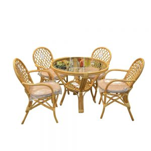 Set mobilier gradina, 4 scaune, 1 masa rotunda, Rattan si Lemn, Maro