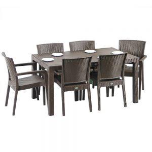 Set mobilier gradina 6 scaune Masa Material Rattan Maro