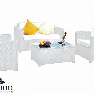 Set mobilier gradina alb 1 canapea 2 fotolii 1 masuta