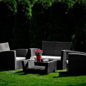 Set mobilier gradina negru 2 fotolii 1 canapea 1 masuta
