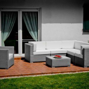 Set mobilier gradina sau terasa 1 canapea de colt 1 fotoliu 1 masuta