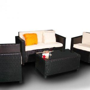 Set mobilier negru gradina 1 canapea 2 fotolii 1 masuta
