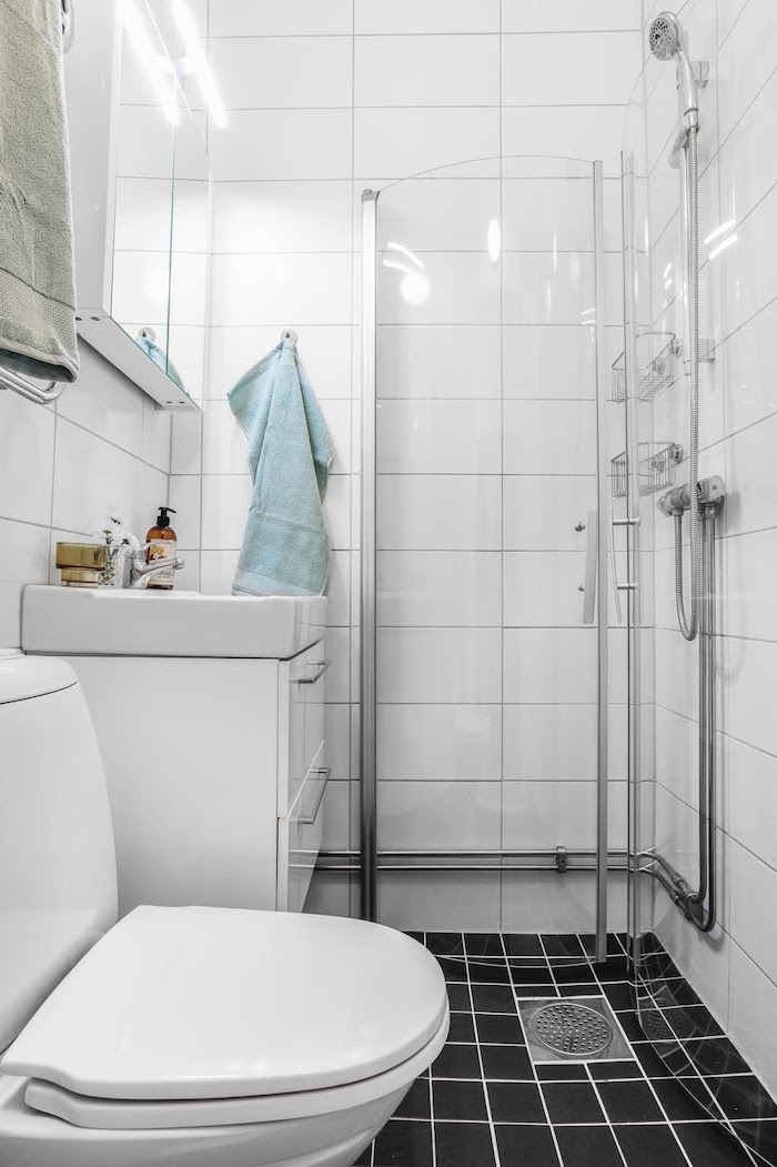 amenajari bai moderne garsoniere alb si negru in baie
