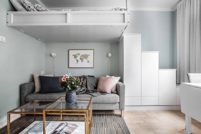 amenajari garsoniere open space living cu dormitor in aceeasi camera