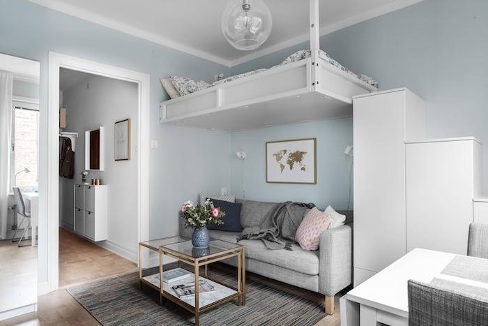 amenajari garsoniere open space living si dormitor intr-o camera