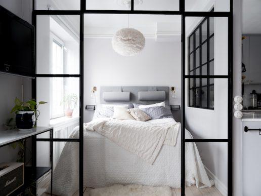 idee amenajare dormitor in garsoniera de 37 mp