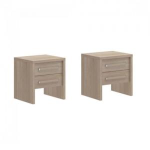 noptiere maro cu 2 sertare, Design minimalist, Materiale din lemn