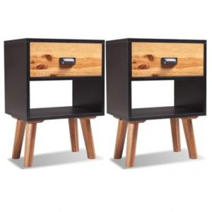 noptiere negre cu 2 sertare Design minimalist Materiale din lemn