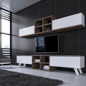 Mobila living Moderna Comoda TV Rafturi Alba Maro pentru living
