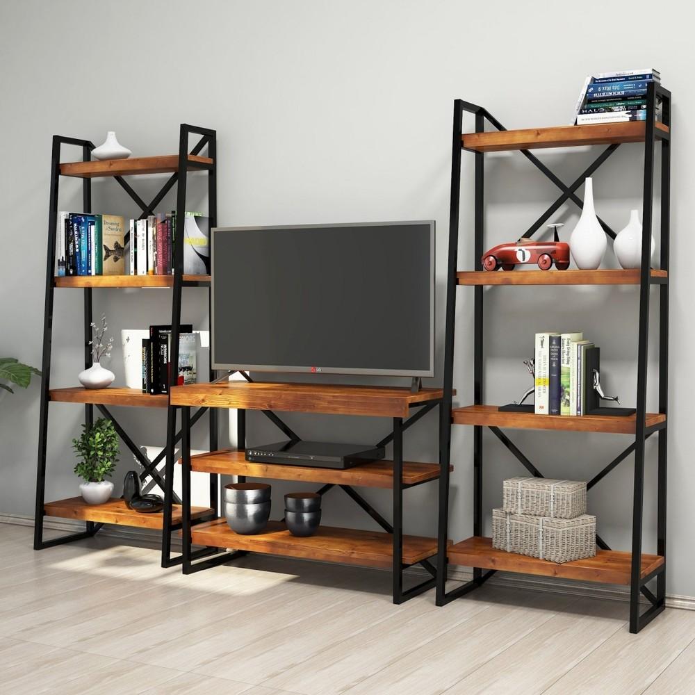 Mobila living cu design industrial Structura din metal Comoda TV Rafturi din lemn