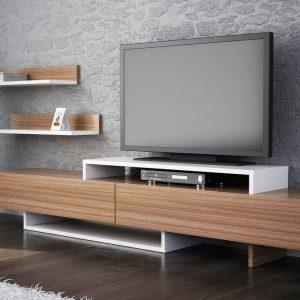Set mobila living Modern Comoda TV Rafturi Maro Alb