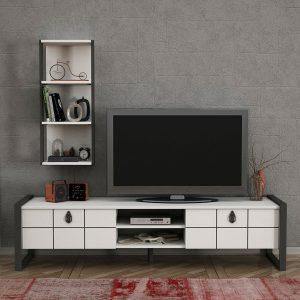 Set mobila living alb Comoda TV Rafturi Dulapuri Modern Retro