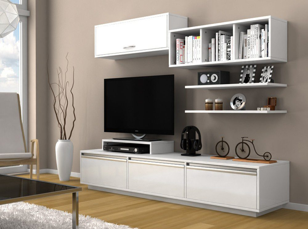 Set mobila living alba Comoda TV Rafturi Dulapuri Modern