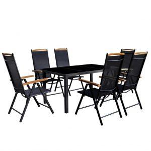 Set mobilier de exterior pliabil 7 piese Negru Modern