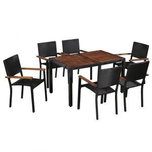 Set mobilier exterior modern 7 piese Lemn masiv Ratan