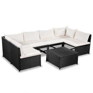 Set mobilier gradina Negru alb Canapele 1 masa cafea Modern