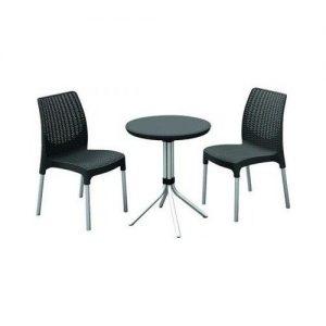 Set mobilier pentru balcon Gri Modern 1 masuta 2 scaune