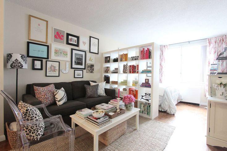 dulap despartitor pentru living Living si dormitor in aceeasi camera