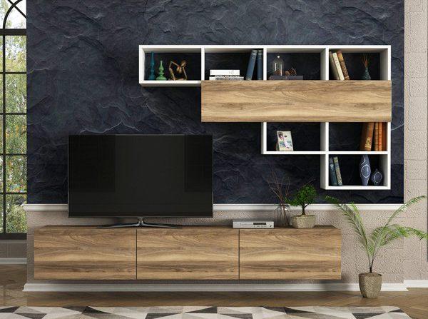 mobila living moderna suspendata comoda tv cu sertare