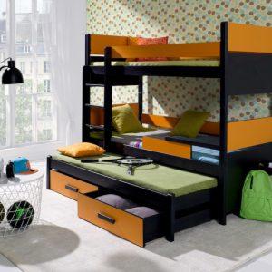 Pat supraetajat pentru copii 3 locuri Design Modern Diverse culori 200x90