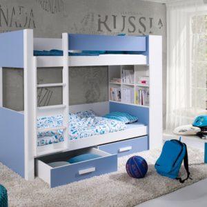 Pat supraetajat pentru copii, Mini biblioteca, Personalizabil, 200x90, Gaspar