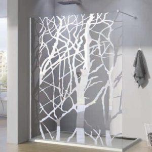Cabina de dus Walk-In SanSwiss Pur 120 cm sticla securizata decor Tree 8 mm