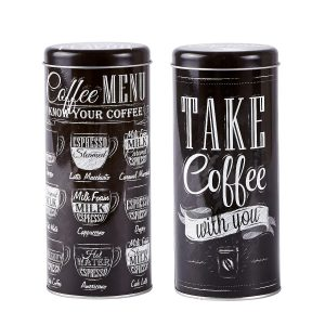 Set 2 Cutii metalice Coffee Menu, Black, KJ, 0,7 L, 261110-SET