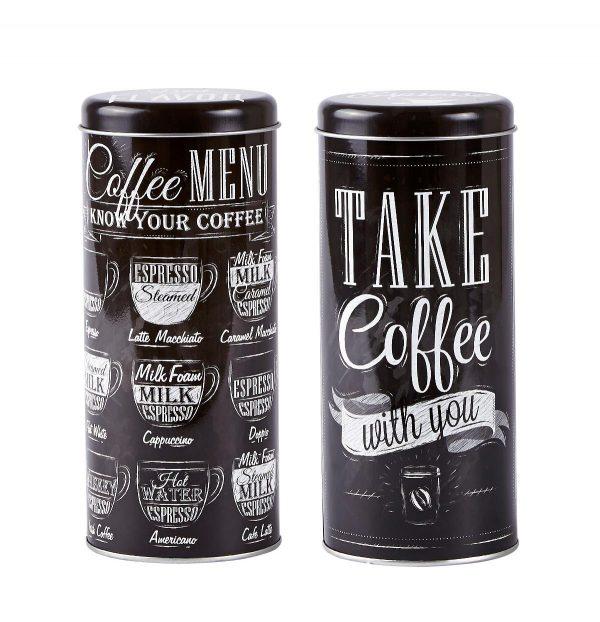 Set 2 Cutii metalice Coffee Menu, Black, KJ, 0,7 L, 261110-SET