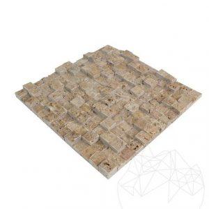 Mozaic Travertin Noce 3D Scapitat 2.5 x 2.5 cm