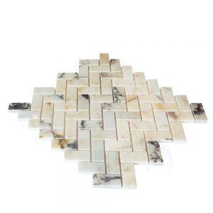 Mozaic Marmura Arabescato Herringbone Polisat 2.3 x 5 cm