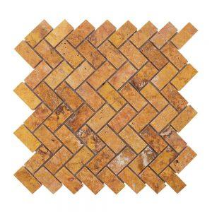 Mozaic Travertin Peach Herringbone Polisat 2.5 x 5 cm