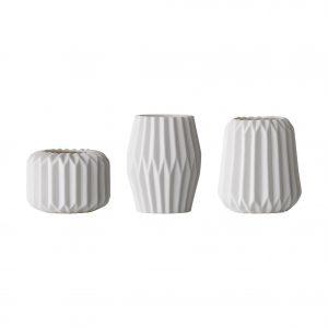 Set 3 Suporturi lumanare Snowwhite Alb, Portelan, O8/O6,5/O7,5 cm