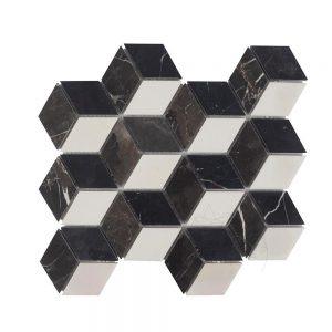 Mozaic Marmura Mix Cube Design Mata (Bianco Carrara, Cleopatra, Nero Marquina)