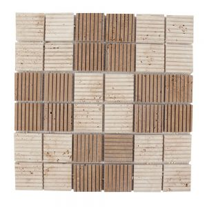 Mozaic Travertin Classic-Noce Rizat 4.7 x 4.7 cm