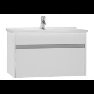 Set mobilier Vitra S50+ dulap baza cu 1 sertar alb lucios sifon si lavoar 80cm