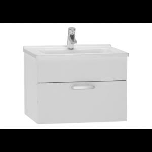 Set mobilier Vitra S50 dulap baza cu 1 sertar alb lucios sifon si lavoar 60cm