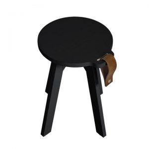 Taburet din lemn de pin Country Black, O40xH45 cm