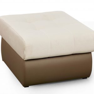 Taburet tapitat cu stofa si piele ecologica Aldo White, l70xA62xH41 cm