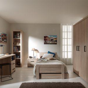 Set Mobila dormitor din pal, pentru copii 5 piese Aline Nature