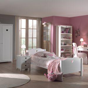 Set Mobila dormitor din lemn de pin si MDF, pentru copii 5 piese Amori II White