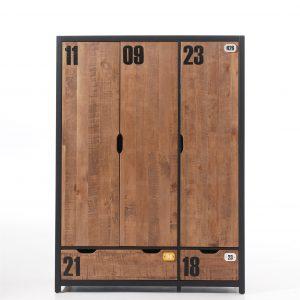 Dulap cu 3 usi din lemn de pin Alex, l147,4xA55xH200 cm