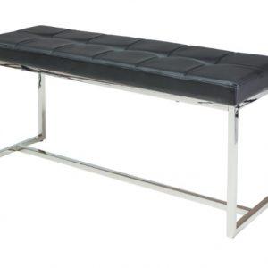 Banca din metal, tapitata cu piele ecologica Festina II Black / Chrome, l99xA30xH45 cm