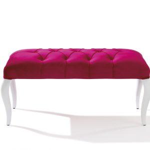 Banca tapitata cu stofa, cu picioare din lemn Rose Pink, l90xA44xH44 cm