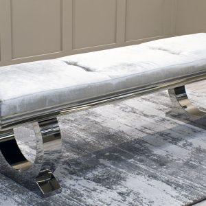 Banca tapitata cu stofa si picioare metalice Arianna Grey, l180xA45xH45 cm
